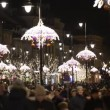 Stock Video: Christmas Lights decoration on the Krakowskie Przedmiescie street in Warsaw, Poland.