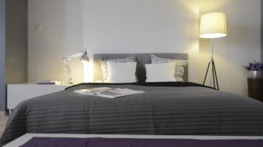 现代的、 白色的时尚卧室室内设计 — 图库视频影像