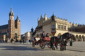 Hansom cab on Old Town square in Krakow, Poland. — Stockfoto