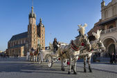 Hansom cab on Old Town square in Krakow, Poland. — Stock Photo