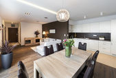 Luxurious kitchen with living area — Stock Photo
