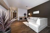 Modern brown interior design living room — Stock Photo