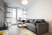 Gray sofa in modern living room — Stockfoto