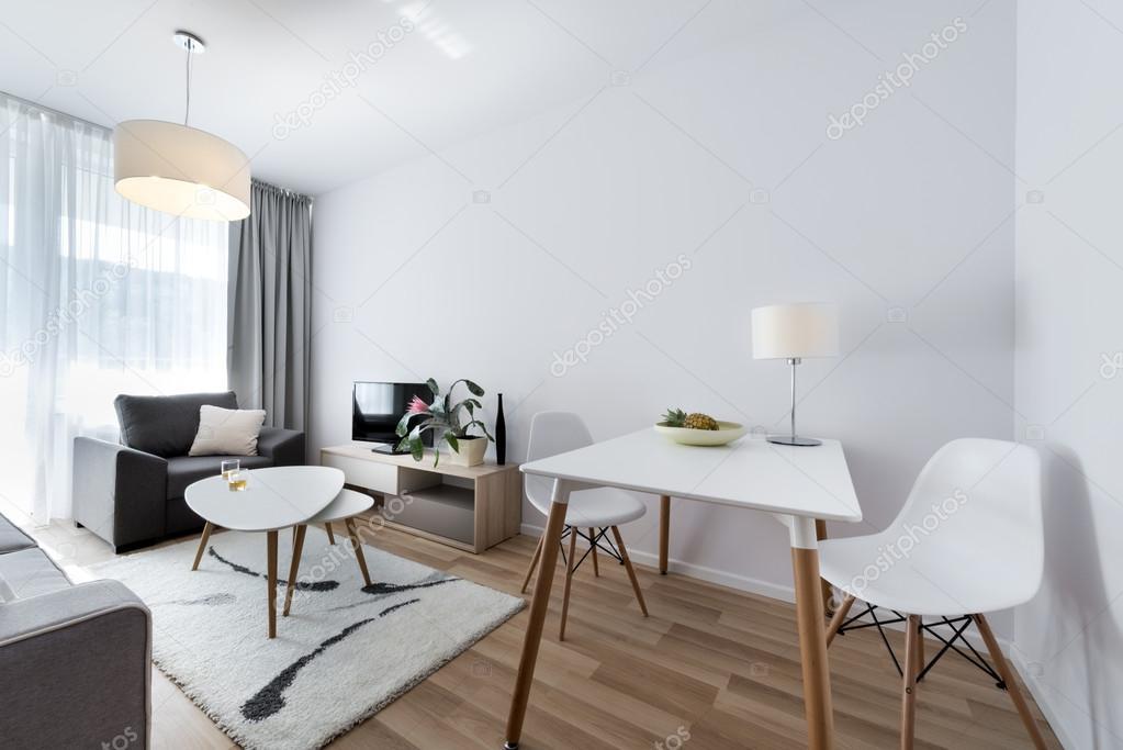 Camera bianca, moderno design dinterni in stile scandinavo — Foto ...
