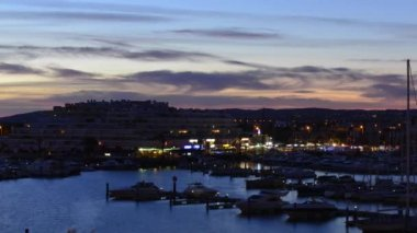 Sundown over marina in South of Portugal — Stock Video