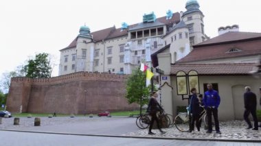 Horse drawn carriages with guides in front of Wawel castle in Krakow — Video Stock