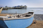 Boat ate the beach in Miraflores district in Lima — Stock Photo