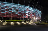 Entrance to National Stadium in Warsaw at night. — Stock Photo