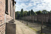 House block in concentration camp in Auschwitz, Poland. — Stock Photo