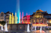 Night view of colorful fountain in Sopot — Stock Photo