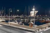 Night view of marina in Sopot, Poland — Stock Photo