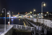 Night view of Molo pier and Sopot city in Poland — Stock Photo