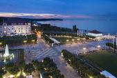 Night view of Molo square in Sopot — Stock Photo
