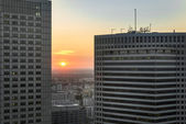 Sundown over Warsaw city with modern buildings — Stock Photo