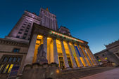 Palace of Culture in Warsaw at night time.  — Stock Photo