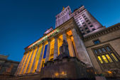 Palace of Culture in Warsaw at night time — Stock Photo