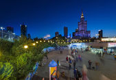 Center of Warsaw during the night — Stock Photo