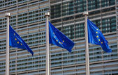 European flags in front of the Berlaymont building, headquarters — Stock Photo