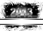 Christmas and new year card with 2013 on a black winter background — Stock Vector