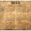 Monthly calendar 2013 on old grunge background — Stock Photo
