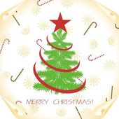 Christmas background with tree on a paper — Vector de stock