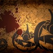 Scary Jack O Lantern halloween pumpkin on  grunge background with blood - Stock Photo