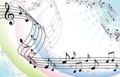Abstract music background with musical notes on white — Vector de stock