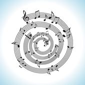 Abstract music background with musical notes on white — Stock Vector