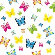 Seamless pattern with colorful butterflies, butterfly background — Stock Vector