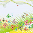 Colorful background with butterfly, crossed lines and halftone — Stock Vector #17677043