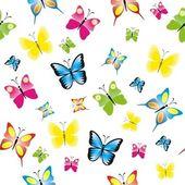 カラフルな蝶、蝶の背景とのシームレスなパターン — ストックベクタ