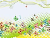 Colorful background with butterfly, crossed lines and halftone — Stock Vector