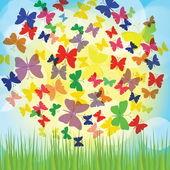 Färgstarka bakgrund med fjäril, vackra dekorativa bakgrund. eps10 — Stockvektor