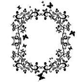 Czarny biały ilustracja piękny kwiatowy ornament projekt — Wektor stockowy