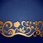 bleu ornement vintage avec des éléments floraux pour invitation ou carte de voeux — Vecteur #31812129