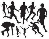 Running sportsmens vector — Stock Vector