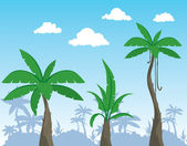 Cartoon palms vector — Stock Vector