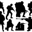 Modern soldier vector silhouettes - Stock Vector