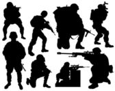 Modern soldier vector silhouettes — Stock Vector
