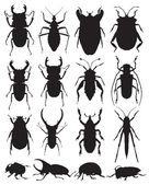 Beetles vector silhouettes — Stock Vector