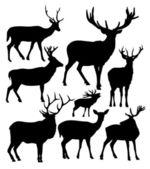 Deer vector silhouettes — Stock Vector