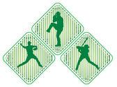 Ikony graczy w baseball — Wektor stockowy