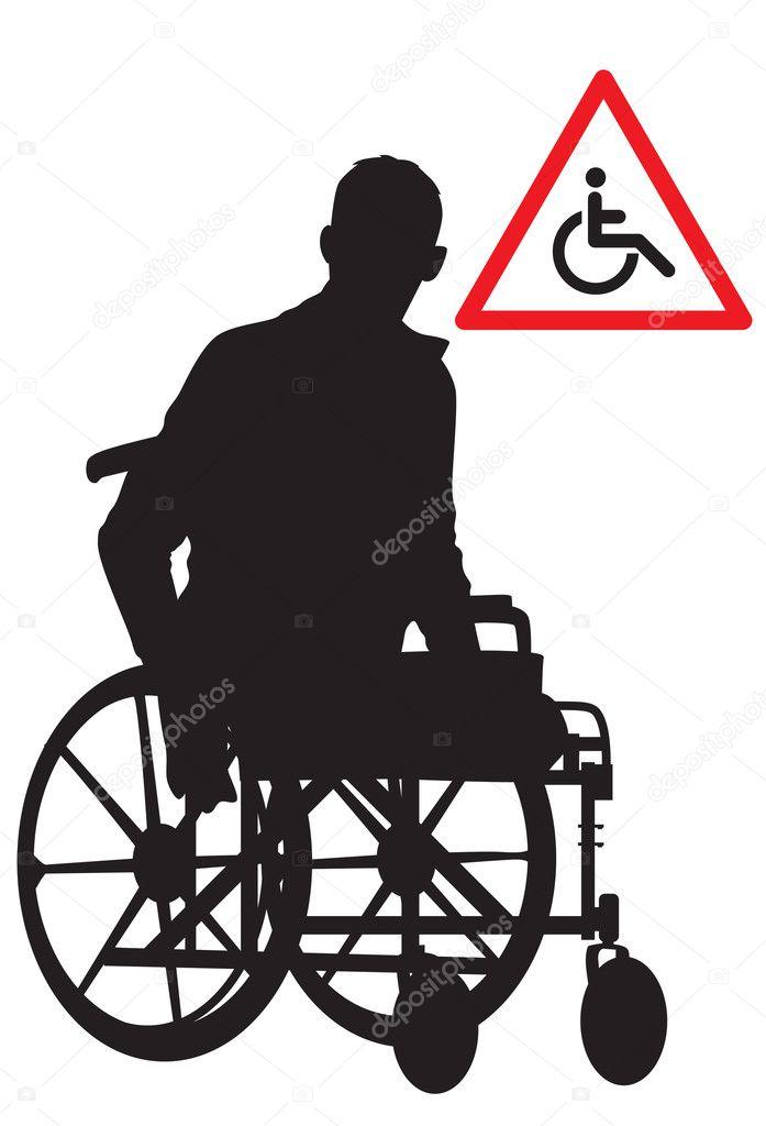 坐在轮椅上的残疾的人士
