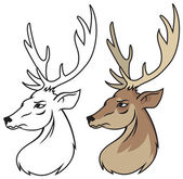 Head of red deer vector — Stockvektor