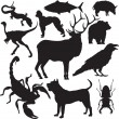 Vector animals silhouettes — Stock Vector