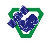 Bodybuilding emblem — Stock Vector