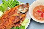 Pan fried fish — Stock Photo