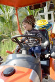 Happy little boy of two years having fun on tractor in summer — Stock Photo