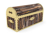Old closed wooden chest — Stock Photo