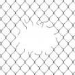 Hole in fence from silver mesh — Stock Photo